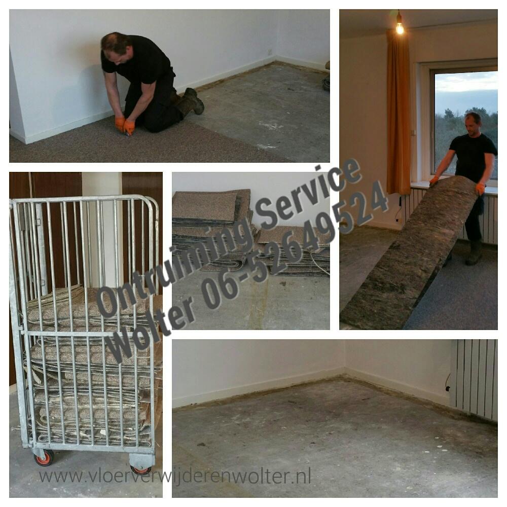 Gelijmde vloerbedekking verwijderen van betonvloer